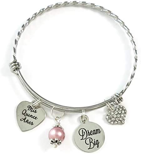 Quincea era Bangle 15th Birthday Gift for Teenager Dream Big Bracelet Mis Quince A os Bangle product image