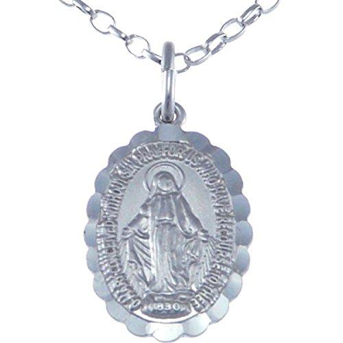 Medalla Orlada de Plata de Ley de la Virgen Milagrosa, con Cadena 18 pulgadas - 16 mm.