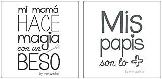 Mimuselina Pack 2 Muselinas Bebé | Muselinas de Algodón con Estampado, Regalo Recién Nacido, Ideal para Lactancia, Paseo Bebé y Regalo, Mensajes Divertidos, 1x1 m