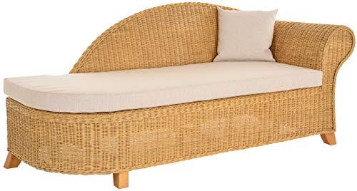 Krines Home Rattan Recamiere Elegance Rattanliege Chaiselounge Lounge Liege mit Polster (Honig, Rechts)
