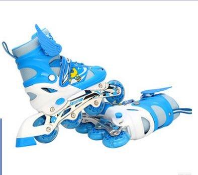 『ローラースケート 大人用/キッズ・子供用インラインスケート ローラーシューズ スポーツウェア 四輪発光 ブルーLJT1』の3枚目の画像