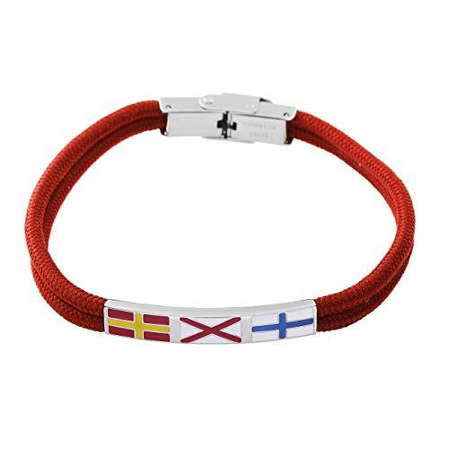 inSCINTILLE Moda náutica - Pulsera para hombre de acero con hilo náutico y banderas náuticas rojo