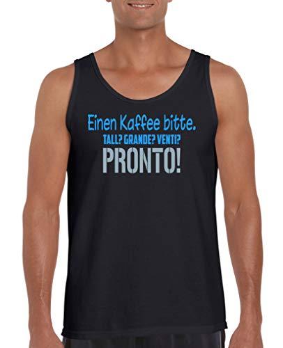 Comedy Shirts - Einen Kaffee Bitte. Tall? Grande? Venti? Pronto! - Herren Tank-Top - Schwarz/Blau-Eisblau Gr. L