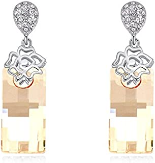a46181ca1 NEVI Crystals From Swarovski Rhodium Plated Fancy Party Wear Flower Drop  Earrings Jewellery for Women And