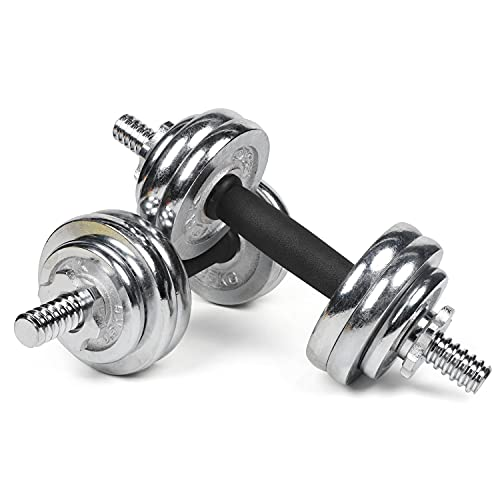 #DoYourFitness All-in-One Hantelset 15 KG | Für alle Muskelgruppen geeignet | Kurzhantelstange und Hantelscheiben | Chrom