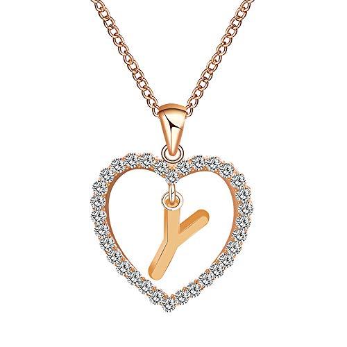 DQANIU Colgante de Letra en Forma de corazón de Dama, Collar Creativo y Exquisito para Damas, Favorito para Novia y Familia|Cadena de clavícula Sexy Lady