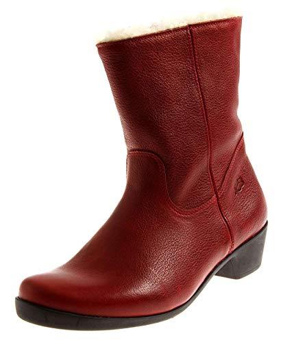 Loints 33512 Damen Elegante Kurze Lederstiefel Winterstiefel Wolle Damenstiefel Einlagen Rot EU 38