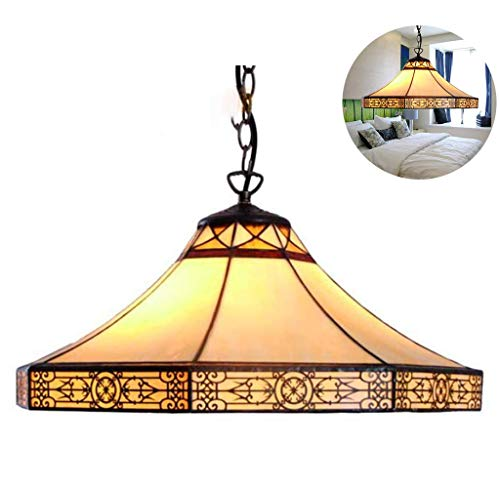 Pendelleuchte Hängelampe Tiffany-Stil Mission 1-Licht 20-Zoll-Glasmalerei Schatten, Vintage Bronze Hardware Kronleuchter Deckenleuchten für Wohnzimmer Schlafzimmer