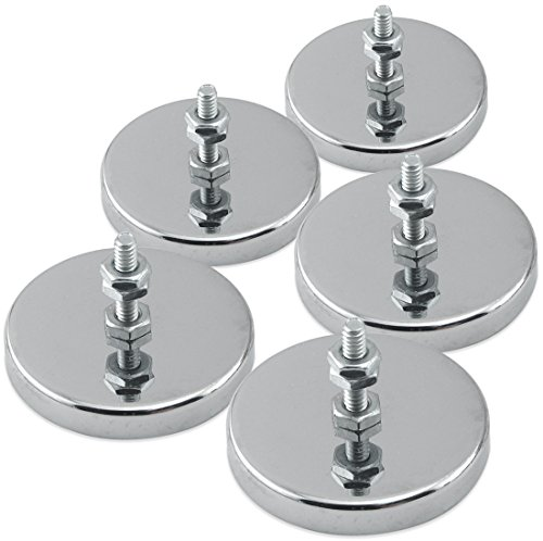 "Master Magnetics Round Base Magnet - Magnetic Fastener/Magnets with Holes, 2.04"" Diameter, 1.25"" Total Height, Holds 35 Pounds (Box of 5) RB50B3NX5"