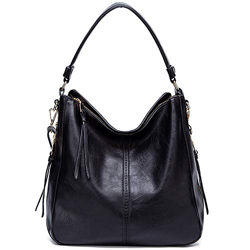 DDDH Vintage Hobo Handbags Shoulder Bags Durable Leather Tote Bags Crossbody Purses Bucket Bag for Women/Ladies/Girls(Black new)