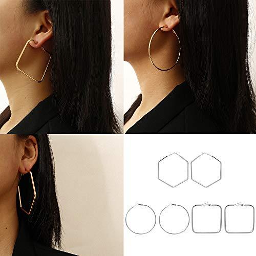 Chargances 3pcs Hoop Earrings Set for Women and Girls Squar and Hexagon Earrings Set Boho Jewelry (Silver)