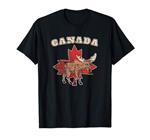 Canadiense Animal Alce Hoja De Arce Regalo País Canadá Camiseta