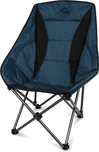normani XXL Campingsessel Camping-Comfort-Freizeitstuhl gepolsterter Faltstuhl Moon-Chair mit Tragetasche in unterschiedlichen Farben - bis 150 Kg belastbar Farbe Blau