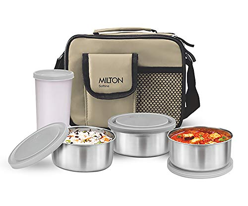 Milton Steel Combi Lunch Box with Tumbler, 4-Pieces, Beige