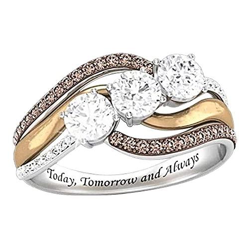 chaosong shop Anillo de compromiso clásico para mujer, oro rosa, anillo de compromiso, grabado hoy, mañana y siempre