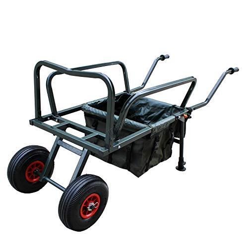 Carpzilla Folding Fishing Trolley 2 Two Pneumatic Wheel Barrow Cart Buggy with Detachable Bag Adjustable Legs New