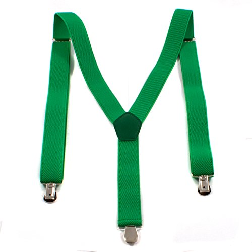 1buy3 Hosenträger Grün| Unisex | Y-Form | Männer & Frauen | 3 Clips | ab 6 Jahren|verstellbar | über 28 Modelle