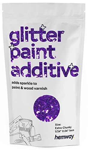 Hemway - Pintura con purpurina extra gruesa de 1/24 pulgadas, 0.040 pulgadas, 1 mm, emulsión a base de agua, para techo de pared, 100 g, morado