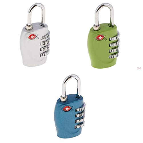 Shiwaki 3Pack TSA 4-Digit Combination Lock Resettable Travel Luggage Code Padlock