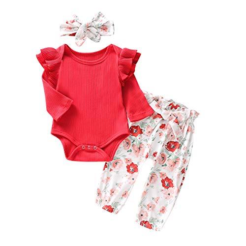 0-18M Pasgeboren Jongens Meisjes Lange Mouwen Tops Romper Bloemen Broek Hoofdband Outfits voor Baby Peuter