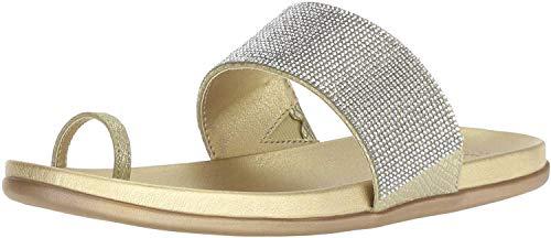 Kenneth Cole REACTION Women's Slim Tracks 2 Toe Loop Flat Sandal, Soft Gold, 5.5 M US