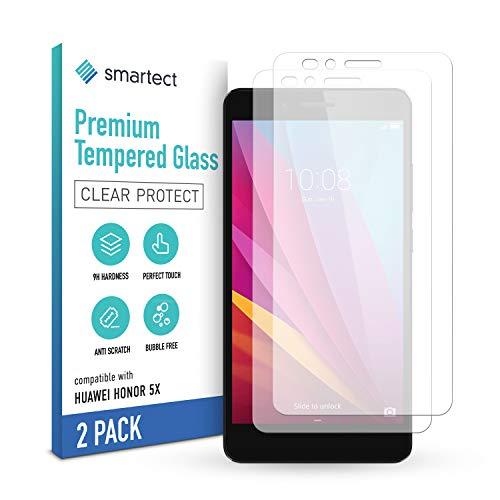 smartect Schutzglas kompatibel mit Huawei Honor 5X [2 Stück] - Tempered Glass mit 9H Festigkeit - Blasenfreie Schutzfolie - Anti-Kratzer Bildschirmschutzfolie