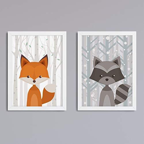Zweier Set Waldtiere - Motive und Hintergrund wählbar - optional mit Rahmen