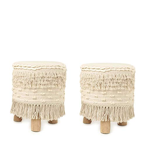 REDEARTH Padded Foot Stool -Set of 2 Cushioned Vanity Stool, Round Ottoman Footrest, Seat Pouffe with Non-Skid Wood Legs, Low Sofa Pouf for Living Room, Bedroom, Dressing Room; (16x14x14; Natural)