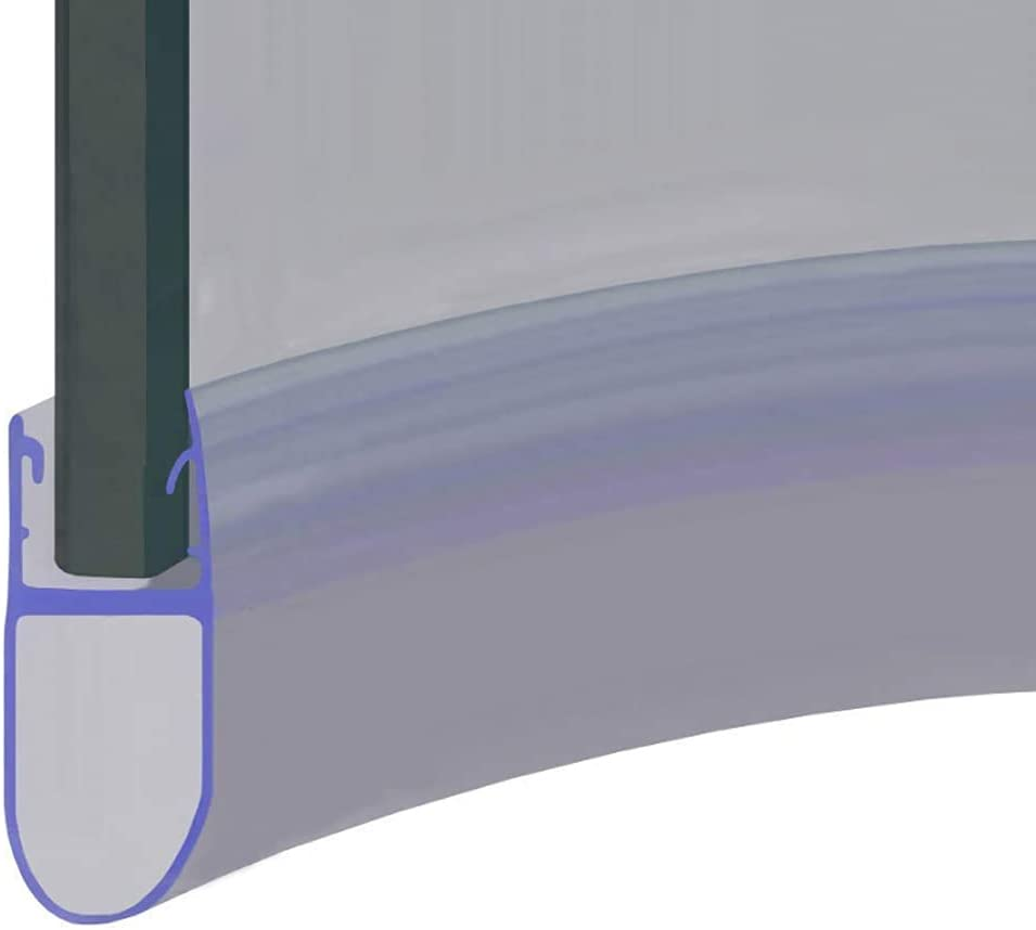 Seals Gaps of Up to 12mm 25mm Sample 5 or 6mm Glass SEAL028 Pre Curved Shower Screen Door Bubble Seal 850mm Long Fits 4