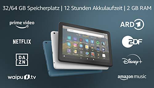 Fire HD 8-Tablet, 8-Zoll-HD-Display, 64 GB, Schwarz, Mit Werbung, für Unterhaltung unterwegs