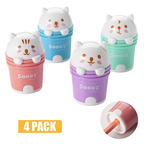 Sooez Cute Cartoon Cat Manual Pencil Sharpener and Eraser, for Standard Pencils, Compact Size Plastic Metal Handheld Sharpener for Adults & Kids, as Ideal Gift, Pink Green Purple Blue, 4-Pack