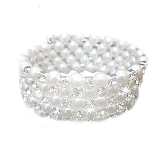 joyliveCY Five Rows Small Faux Crystal Rhinestone Pearls Wedding Accessory Bracelet for Party Bridal
