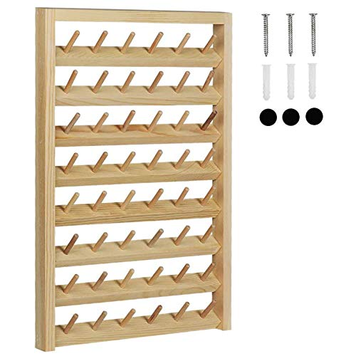 HAITRAL 48-Spool Sewing Thread Rack,Wall-Mounted Sewing Thead Holder with Hanging Hooks, Wooden Organize for Mini Sewing, Quilting, Jewelry, Embroidery