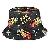 gii6LMLMLFGHLBB Unisexo Summer Bucket Sun Sombrero Vintage Van Life Printed Gorro de Pescador Black