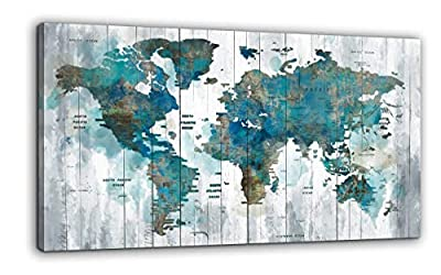 Yiijeah Abstract World Map Canvas Wall Art for Living Room Office Green Teal White World Map Picture Print Artwork Decor for Home Bedroom Decoration from