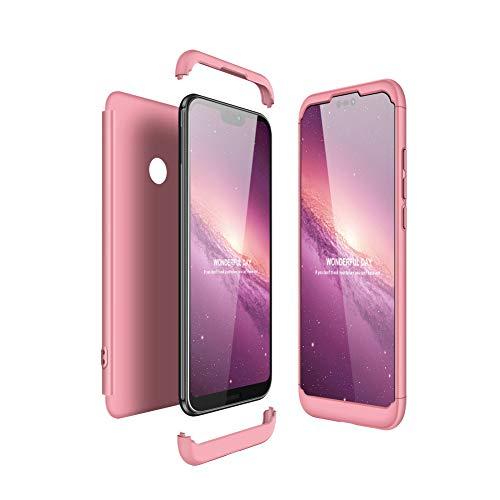 JMGoodstore Funda Compatible Huawei P20 Lite,Carcasa Huawei P20 Lite,360 Grados Integral Ambas Caras+Cristal Templado, 3 in 1 Slim Dactilares Protectora Skin Caso Cover Rose Oro