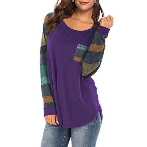 XLDD - Camiseta informal de manga larga para mujer, color raglan A-purple XXL