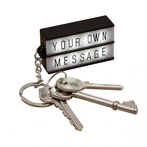 takestop® Sleutelhanger met LED-lamp, 100 letters, cijfers, symbolen, stickers, met sleutelhanger, LED, sleutelhanger, tas, clip, riem, 5,5 x 3 cm, personaliseerbaar, licht, wit