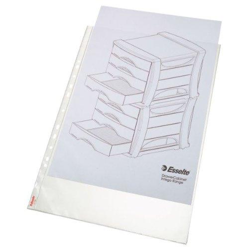 Esselte Prospekthüllen-Set Standard Plus A3 Hochformat, 50 Stück, Farblos mit matter Oberfläche, Obere Öffnung, 0,085 mm PP-Folie, 55231