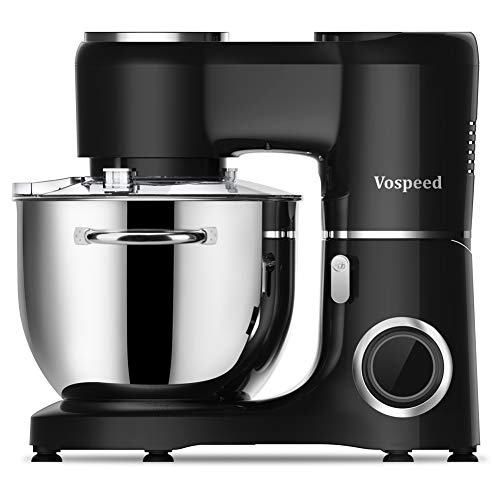 Vospeed Stand Mixer, 7.5 QT 660W 6-Speed Electric Food Mixer Kitchen with Stainless Steel Bowl, Beater, Hook, Whisk,Dishwasher Safe (Black)