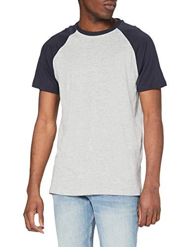 Urban Classics Raglan Contrast tee Camiseta, Gris y Azul Marino, XXXXXL para Hombre