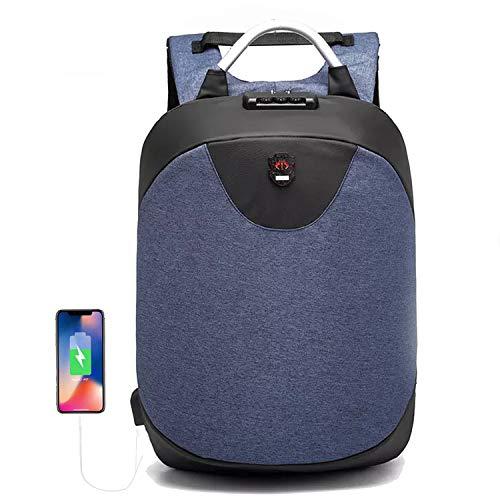 Men Anti-Theft Lock Laptop USB Charging Briefcase Backpack Messenger Bag Business for Student College Work - DARK BLUE - Age 8-12