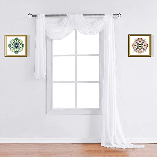 WARM HOME DESIGNS Standard 54' (Width) x 144' (Length) Sheer Bright White Window Scarf. All Premium Valance Scarves are Great for Any Window, Bed, Wall or Other DIY Project. K White 144'