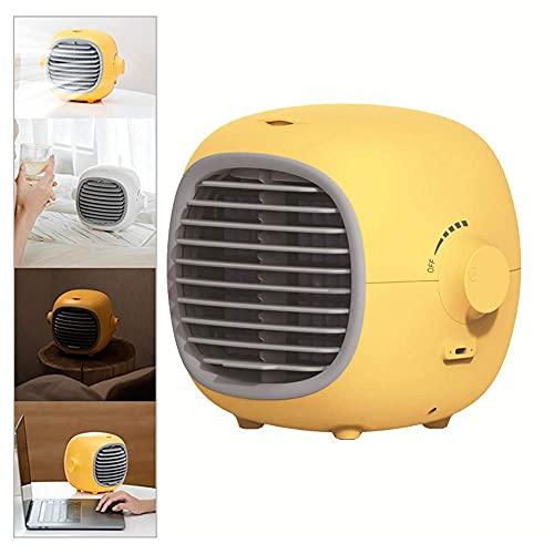 Air cooler Aire acondicionado portátil, refrigerador de aire personal sin ruido evaporativo refrigerador de aire Mini humidificador para dormitorio, habitación, escritorio, oficina, hogar, amarillo