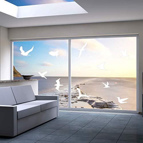 QUALIVEAU® 10-18cm große Aufkleber zum Schutz vor Vogelschlag | Komplett – Set mit Verklebehilfe | Farbe: Weiß