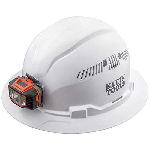 Klein Tools Hard Hat, Vented, Full Brim with Headlamp