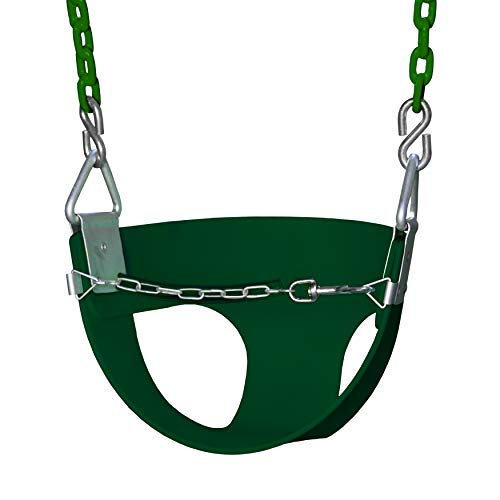Gorilla Playsets 04-0010-G/G Half Bucket Toddler Swing with Coated Chains - Green