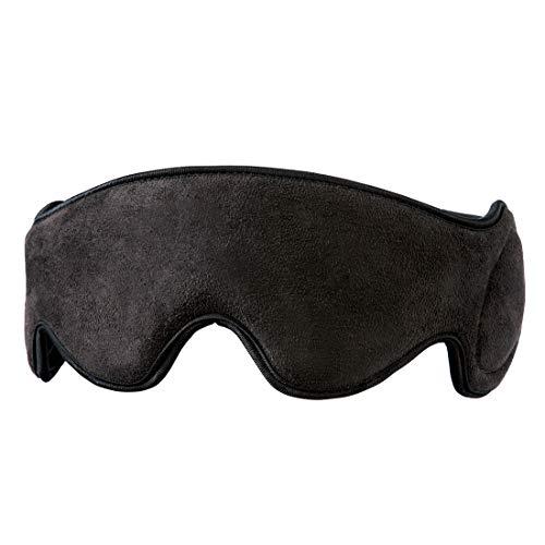 HoMedics Mobile Comfort, una máscara ocular de viaje vibrante con altavoces, máscara para dormir, tejido suave y acolchado, bloqueo de luz, puerto auxiliar, terapia de sueño de compresión portátil