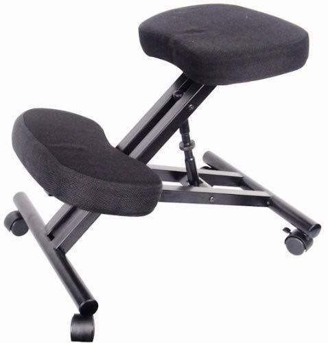 Eazygoods - Silla de oficina, taburete, silla sin respaldo, silla de rodilla ergonómica, ortopédica, con cojín en la parte superior / marco de metal, color negro, dimensiones: 47x 63x 64cm