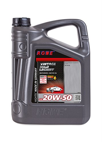 ROWE Hightec Vintage SAE 20W-50 mild legiert - 5 Liter Oldtimer, Youngtimer Motoröl, mineralisch | Made in Germany